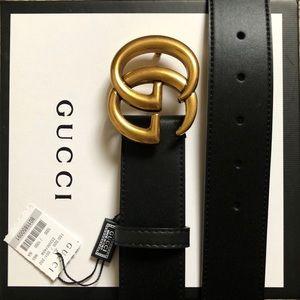 New Gucci GG Gold Bucklee Double G Belt With Tags